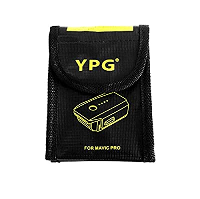 YPG Lipo Safety Guard for Mavic Pro Fire Resistant Explosionproof Lipo Battery Safe Bag Battery Charging & Storage Pouch Sack (113x84x44mm)