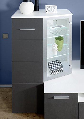 AVANTI TRENDSTORE – Wohnwand aus Seidenoptik grau und weiß Dekor, ca. 300x200x45 cm - 2