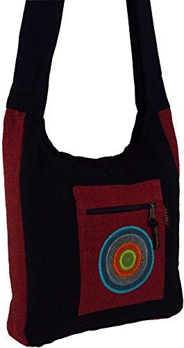 Schultertasche, Hippie Tasche, Goa Schulterbeutel / Sadhu Bag, Hippie Beutel Schwarz