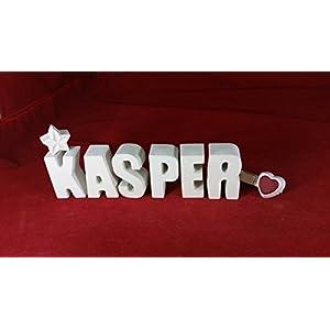 Beton, Steinguss Buchstaben 3 D Deko Schriftzug Namen KASPER als Geschenk verpackt!