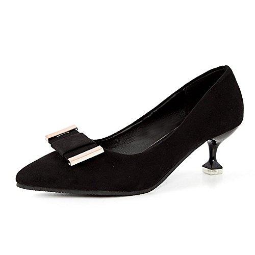 Dimaol Chaussures Femme Caoutchouc Printemps Automne Talons Confort Bas Talon Astuce Pour Noir Extérieur Noir