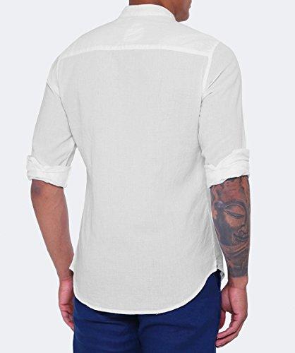 Ganesh Hommes chemise sans col texturé Blanc Blanc