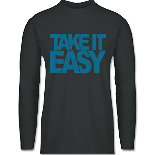 Shirtracer Statement Shirts - Take It Easy - Herren Langarmshirt Dunkelgrau