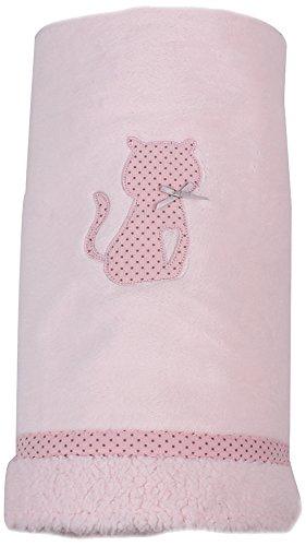 Minene 8221 - Manta, 100 x 75 cm, diseño de gato, color rosa