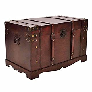 Anself Vintage Large Wooden Treasure Chest