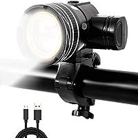 Nologo Luz de Bicicleta Zoomable 15000lm XM-L T6 LED Luces Delanteras de Bicicleta Recargable USB MTB Cabeza Lámpara 3 Modos Faro Ciclismo