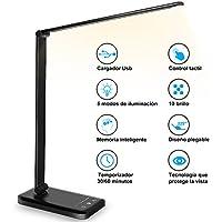 Lámpara Escritorio LED, Flexo de Escritorio, La luz natural protege los ojos, Lámpara de mesa regulable con puerto de carga USB, 5 Modos, 10 Niveles de Brillo,Temporizador de 30/60min, negro