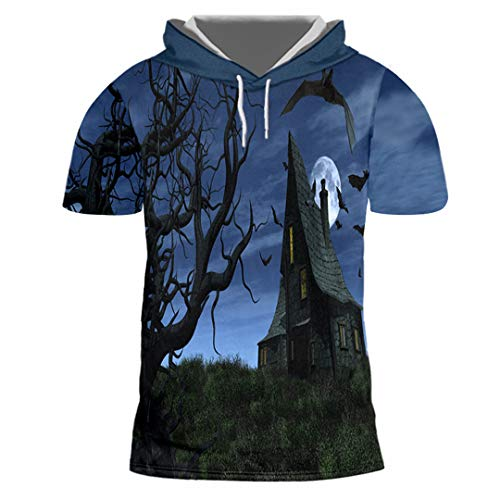 Halloween-Frauen-Trend-mit Kapuze T-Shirt 3D gedrucktes Schloss-Loses T-Shirt Castle 5XL