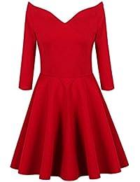 Lookbook Store® Damen Rotes Schulterfreies Langärmliges A-Linie Kleid mit Reißverschluss Einfarbig