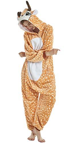 Erwachsene und Kinder Unisex Einhorn Tiger Lion Fox Onesie Tier Schlafanzug Cosplay Pyjamas Halloween Karneval Kostüm Loungewear (Christmas Deer, XL passt Höhe 174-183cm) (Kostüm Tiere)