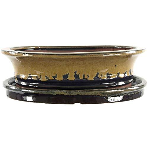 Bonsaischale mit Untersetzer 29.5x23.5x8cm Beige-Braun Oval Glasiert