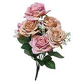 Tagether 7 Kopf Künstliche Gefälschte Rosen Blume Brautstrauß Hochzeit Home Decor künstliche gefälschte Blumen Künstlicher Lavendel Kunstblumen Kunststoff Blumen DIY Handwerk Kranz (F)