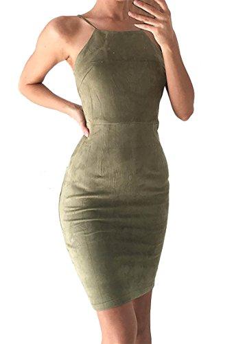 Damen Ärmellos Reizvolle Cocktailkleid Abendkleider Ballkleid Frauen Trägerlos Sommerkleid Partykleid Minikleider Grün