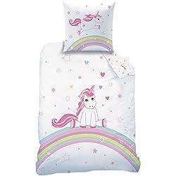 Matt & Rosa Funda Nórdica de 140x 200cm + 1Funda de Almohada–pequeña Unicornio–100% algodón 57Hilos Edition Limitada