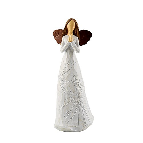 JYSPT White Angel with Iron Wings Ornament Angel in Plant Pattern Effect Dress Figurine Statue for Home Party Office Desk Garden and Yard Decor (Ornament Angel Wing)