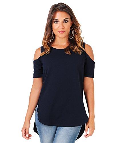 KRISP Damen T-Shirt mit Schulterausschnitten High-Low Top Marineblau