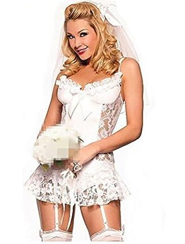 Omos Lingerie Sexy Femme Dentelle Blanche Robe de Mariée Costume