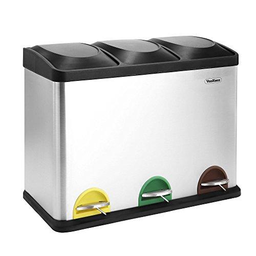 Vonhaus - Cubo pedal reciclaje vonhaus 45l litros