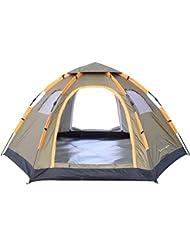 Wnnideo Tente familiale étanche double porte 6–8personnes Montage rapide et instantané Pour sport extérieur camping randonnée voyage plage Avec porte zippée et sac de transport Gris