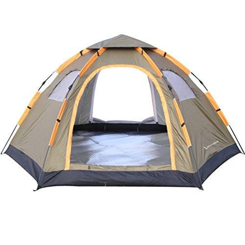 Wnnideo Pop-Up Zelt, Doppel-Tür, 6–8Personen, groß, Familienzelt, wasserdicht, für Outdoor Sport, Camping, Wandern, Reisen, Strand, mit Reißverschluss-Tür und Tragetasche in Grau