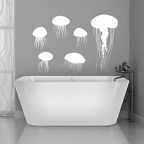 WWYJN Jellyfish Sea Fish Bathroom Wall Sticker Vinyl Modern Home Decor Ocean Animal Design Removable Mural Wallpaper62x42cm