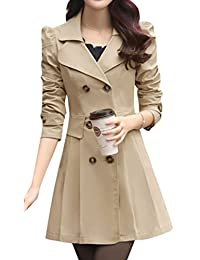 Yasong Women Long Sleeve Double Breasted Slim Fitted Jacket Trench Jacket Fit And Flare Skater Jacket