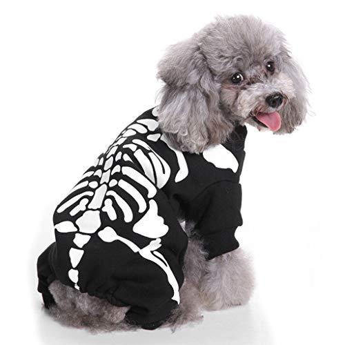 Skelett Kostüm Für Muster - NYJ Haustier Kleidung, Weihnachtsgeschenk Katze Hund Skelett Muster Set Kostüm Woolen Jacke Overall Welpen Kleidung (größe : L)