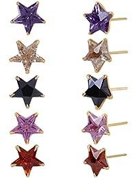Fasherati Set von zehn quadratischen geformten Kristall Ohrstecker für Mädchen