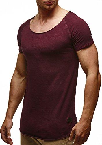 LEIF NELSON Herren T-Shirt Tiefer Rundhalsausschnitt | Basic Shirt Kurzarm Oversize | Männer T-Shirt lang | 100% Baumwolle | 04251460504553