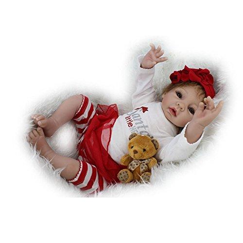 Nicery Neugeboren Baby Puppe Weich Silikon Vinyl 22inch 55cm Magnetisch Mund Naturgetreue Jungen Mädchen Spielzeug Rot Sankt Weiß Reborn Doll A3DE - Tuch Baby Puppe