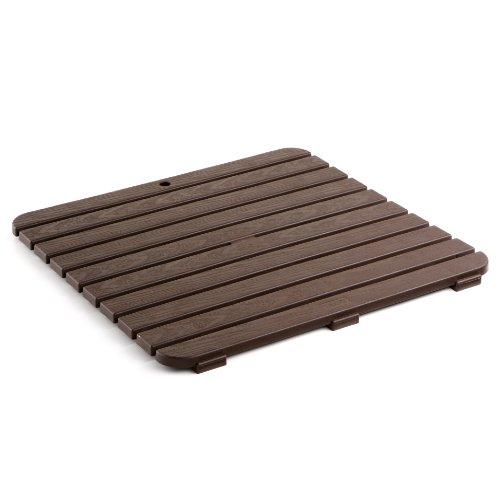 TATAY 5530000, Tarima de baño cuadrada en plástico con efecto madera, 55 x 55 cm, marrón