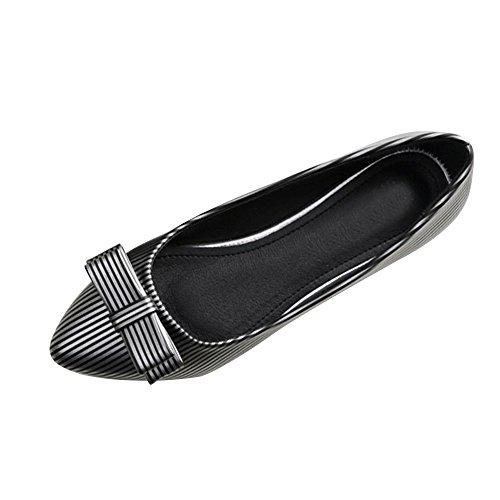 OCHENTA Femme Ballerines Plate Rayure en PU Mode Poiture 34-45 Chaussures Noir