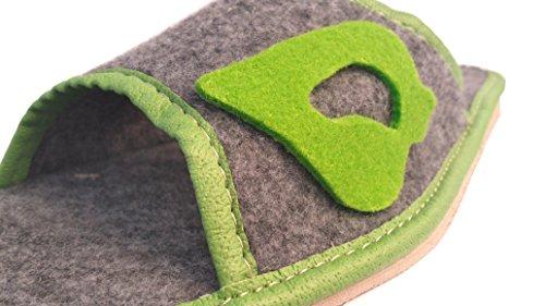 Damen Hausschuhe aus Filz / Filzpantoffeln Filz mit grüner Detaillierung
