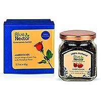 Blue Nectar Amritanadi Assam Mogra Green Tea Leaves with Himalyan Rose (65 gm, 33 Cups)