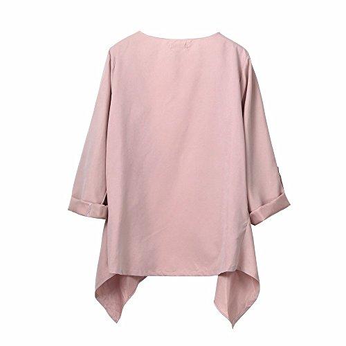 LILICAT vêtements Femmes Élégance et manches de couleur pure ornent la dentelle Automne Printemps Solide Manches Longues Lâche Plus Manteau Cardigan De grande taille L-5XL pink