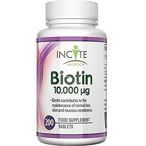 Biotin Hair Growth Vitamins 10000MCG 200 6mm Tablets MONEY BACK GUARANTEE UK Made BUY 2 GET FREE UK DELIVERY 6 Month + Supply Best Supplements for Hair Loss Best Beauty Treatment for Men and Women - Incite Nutrition Biotin B7 Complex Better Than Shampoo Not 5000MCG Capsules Benefits Healthy Hair , Nail Growth and Skin UK Manufactured