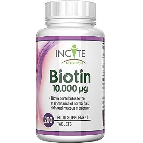 Vitamines de biotine pour la croissance des cheveux 10000 MCG
