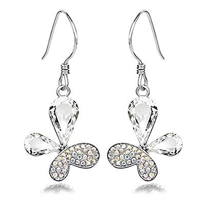 VANKER 1 par pendientes cristalina del diamante brillante de la mariposa blanca -oído del perno prisionero del oído del gancho
