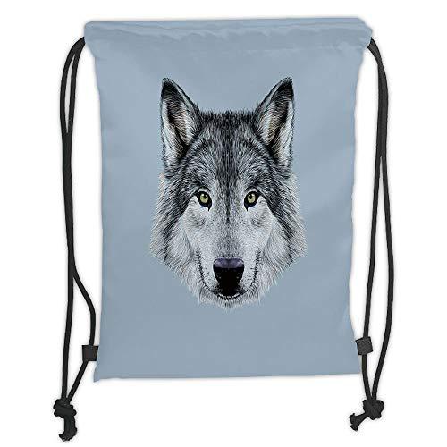 LULUZXOA Gym Bag Printed Drawstring Sack Backpacks Bags,Wolf,Wolf Portrait with Beautiful Gaze Sublime Animal Illustration Canine Beast,Black Beige Bluegrey Soft Satin -