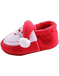 Amlaiworld Zapatos de Navidad de bebé recién nacidos Niña niño Prewalker Shoes Botas Invierno (13 / 12-18Mes, Rojo)
