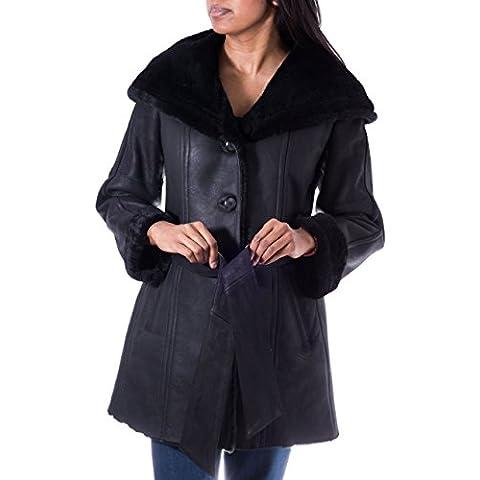Para mujer Negro con capucha de piel de oveja y del escudo longitud de la rodilla del cuero. Con cintur—n de la capa del invierno caliente