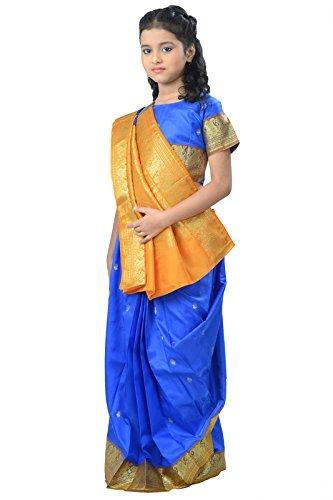 Pratima Girl's Ethnic Party Wear Royal Blue with Lemon Gold contrast Satin...