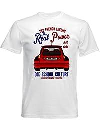 TEESANDENGINES Renault 5 Maxi Turbo Camiseta Blanca para Hombre de Algodon
