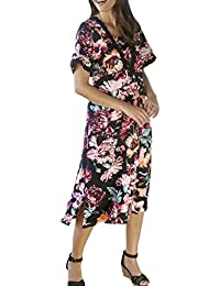 TopsandDresses Ladies Black and Pink Floral Short Sleeved Dress In Sizes 10-26 (EU 36-52)