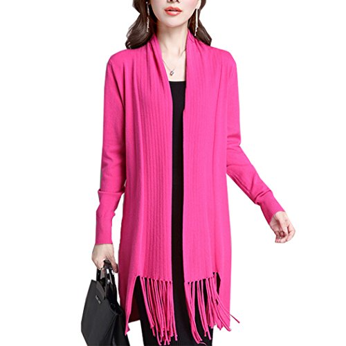 pqdaysun Damen Strickjacke style 2 Rose red