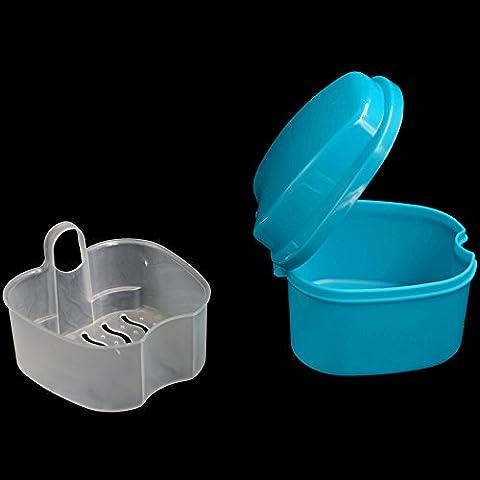 KaLaiXing brand Denture Bath - Storage Container for Soaking Dentures, Retainers & other Dental Appliances--dark blue