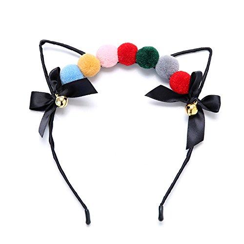 Heatnine Urlaubsparty Damen süße Katze Ohren Stirnband Haar Ball
