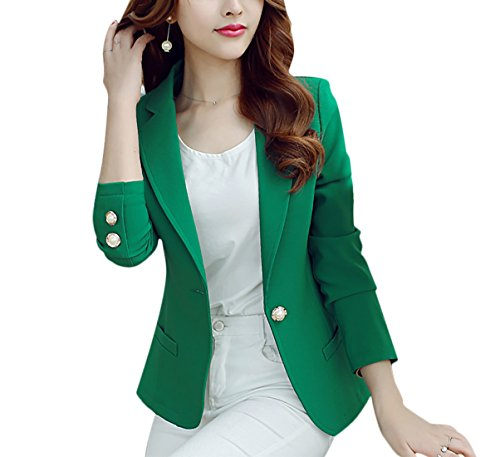 Aisuper Womens Blazer Plain Causal Spring Summer Slim Jacket Suit One Button Small Green