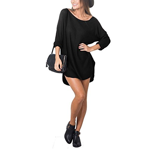 Janisramone - Robe - Robe pull - Uni - Manches Longues - Femme * taille unique Noir