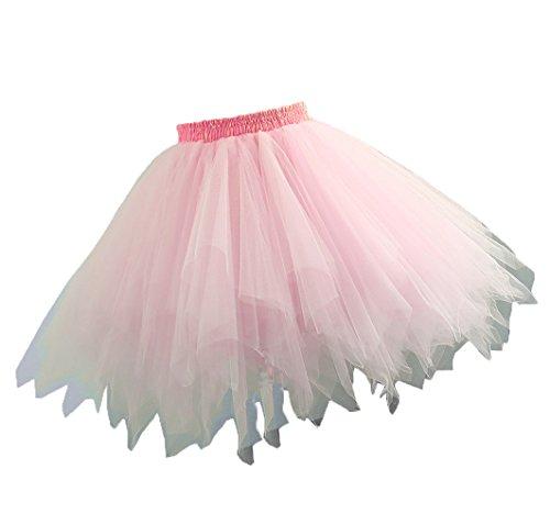 Changuan Frauen Vintage kurze Petticoat Rock Ballett Bubble Tutu mehrfarbige Pettiskirt Größe L/XL Rosa